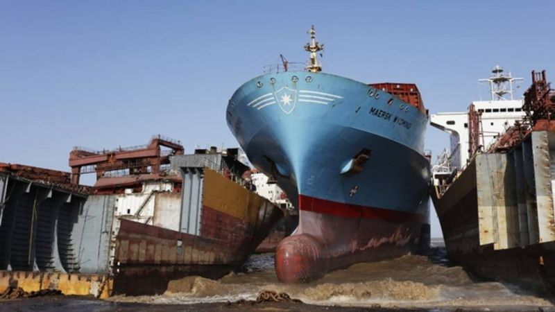 Scrap Vessels Just Beached at the Indian Demolition Yards