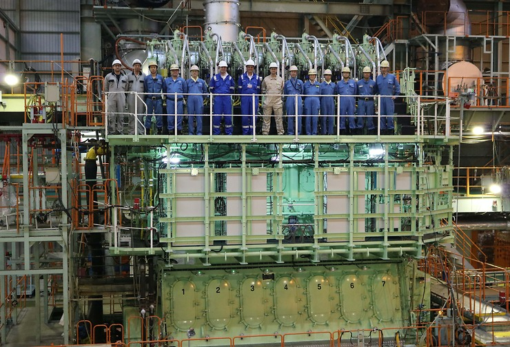 World's First Two-Stroke Low-Speed Triple Fuel ME-GIE Engine Completed at Mitsui's Tamano Works